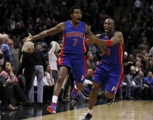 One of the most memorable moments of Brandon Jennings' career as a Detroit Piston, his game winner against the San Antonio Spurs. Photo: Kin Man Hui /San Antonio Express-News