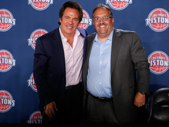 Detroit Pistons owner Tom Gores, left, and team president:coach Stan Van Gundy. (Photo- Gregory Shamus Getty Images).jpg