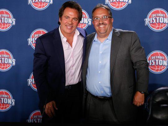 Detroit Pistons owner Tom Gores, left, and team president:coach Stan Van Gundy. (Photo- Gregory Shamus Getty Images).jpg